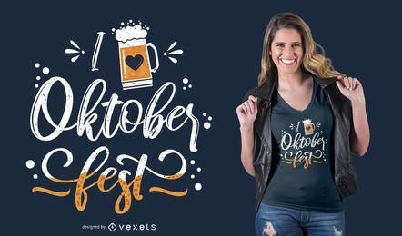Amo el diseño de la camiseta de las letras de Oktoberfest