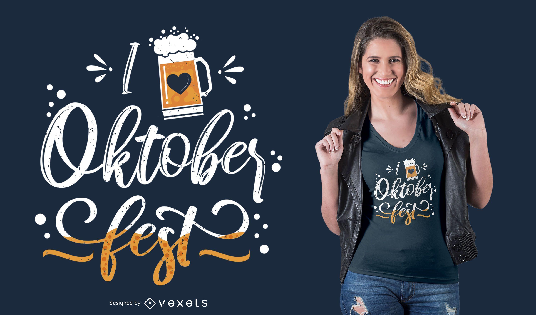 I Love Oktoberfest Lettering T-shirt Design