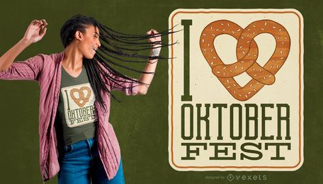 Projeto do t-shirt do coração do pretzel de Oktoberfest