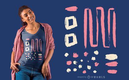 Abstraktes rosa weißes T-Shirt Design
