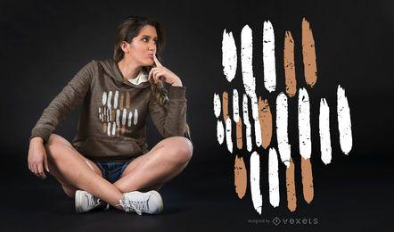 Diseño de camiseta de trazos de pincel abstracto