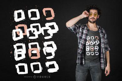 Quadrados de pintura abstrata design de t-shirt