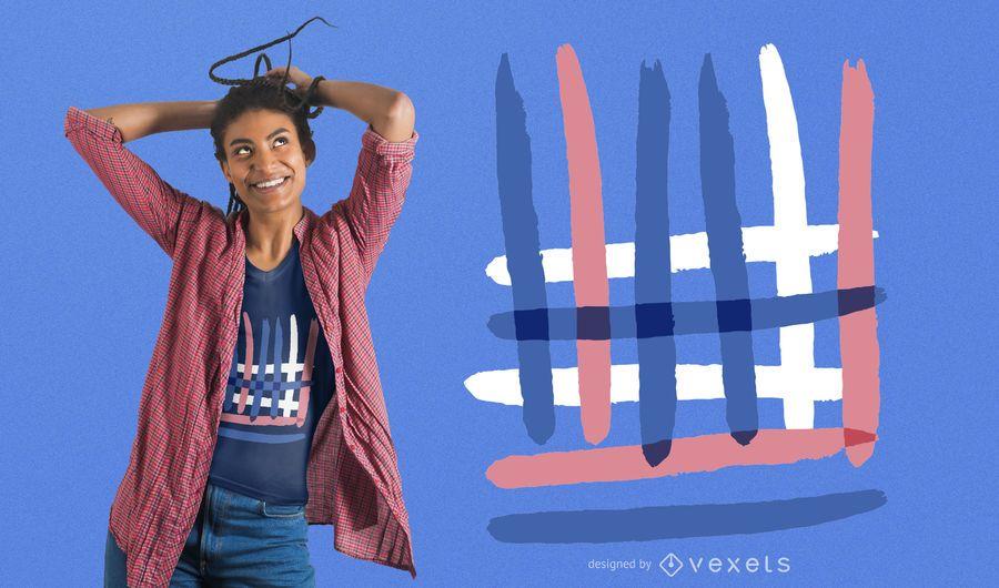 Diseño de camiseta de líneas superpuestas abstractas