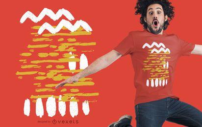 Diseño abstracto de camiseta blanca amarilla
