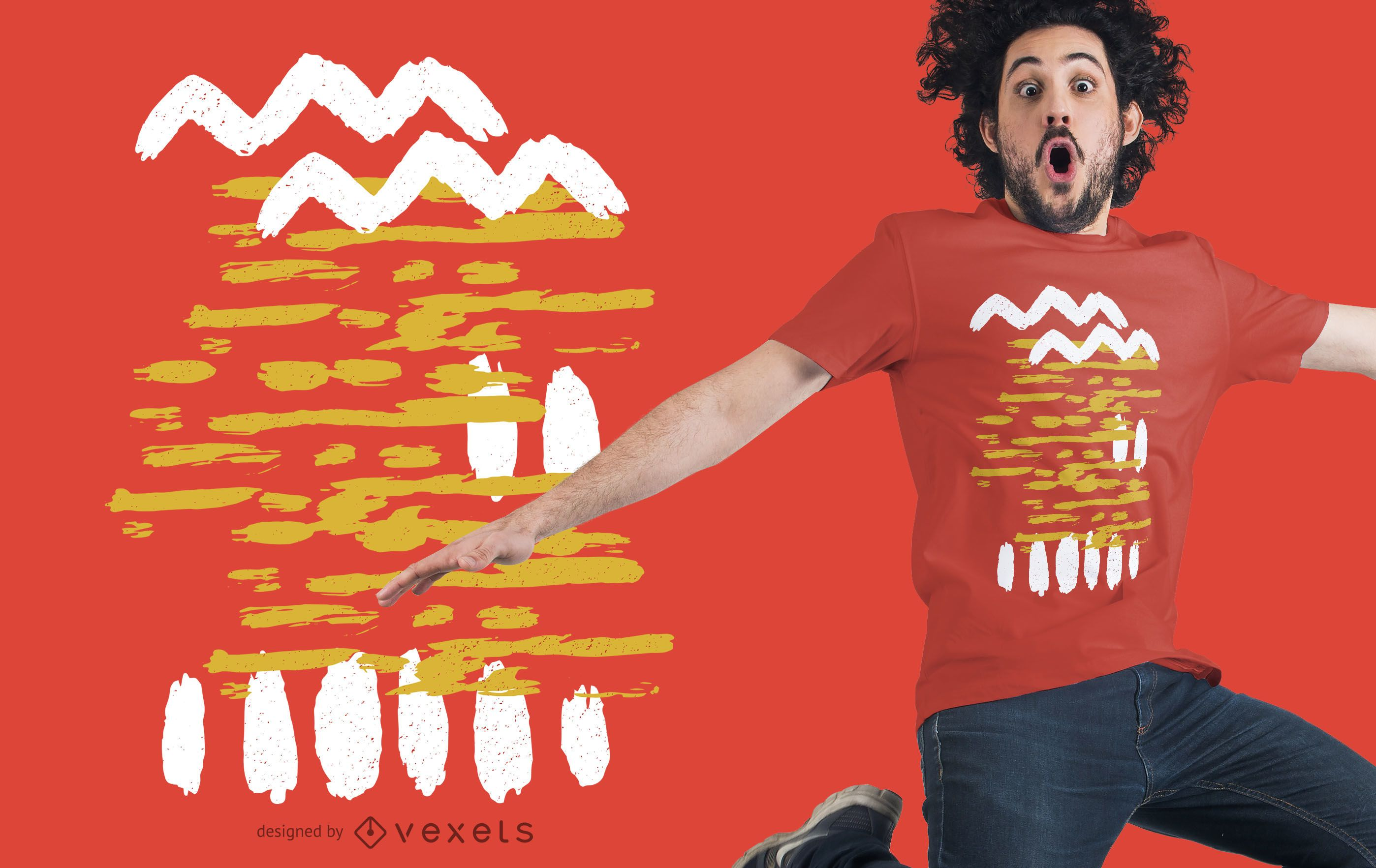 Abstract yellow white t-shirt design