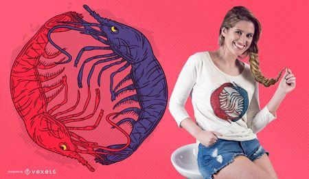 Design de t-shirt yin yang de lagosta