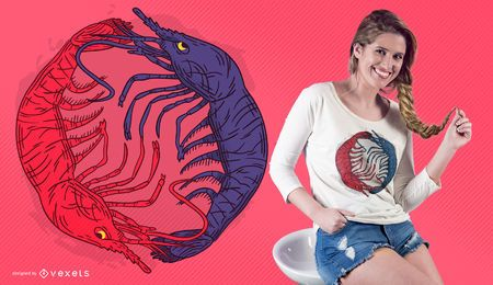 Lobster yin yang t-shirt design