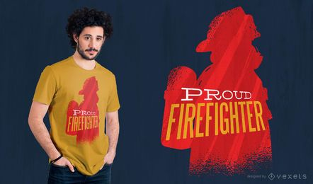 Diseño orgulloso de la camiseta del bombero