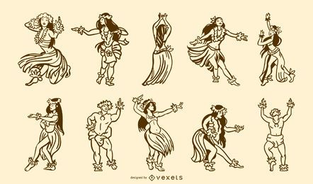 Pack de trazos de bailarines hawaianos