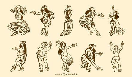 Pacote de traços de dançarinos havaianos