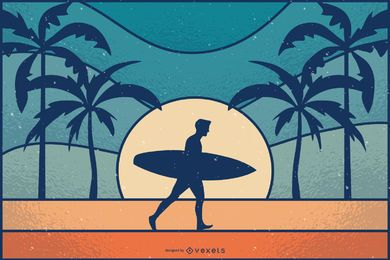 Ilustração retrô sunset surfer