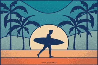 Ilustración retro de surfista al atardecer