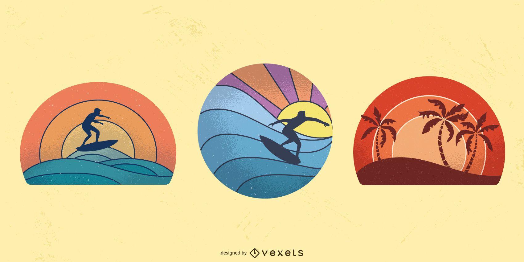 Conjunto de ilustración retro puesta de sol