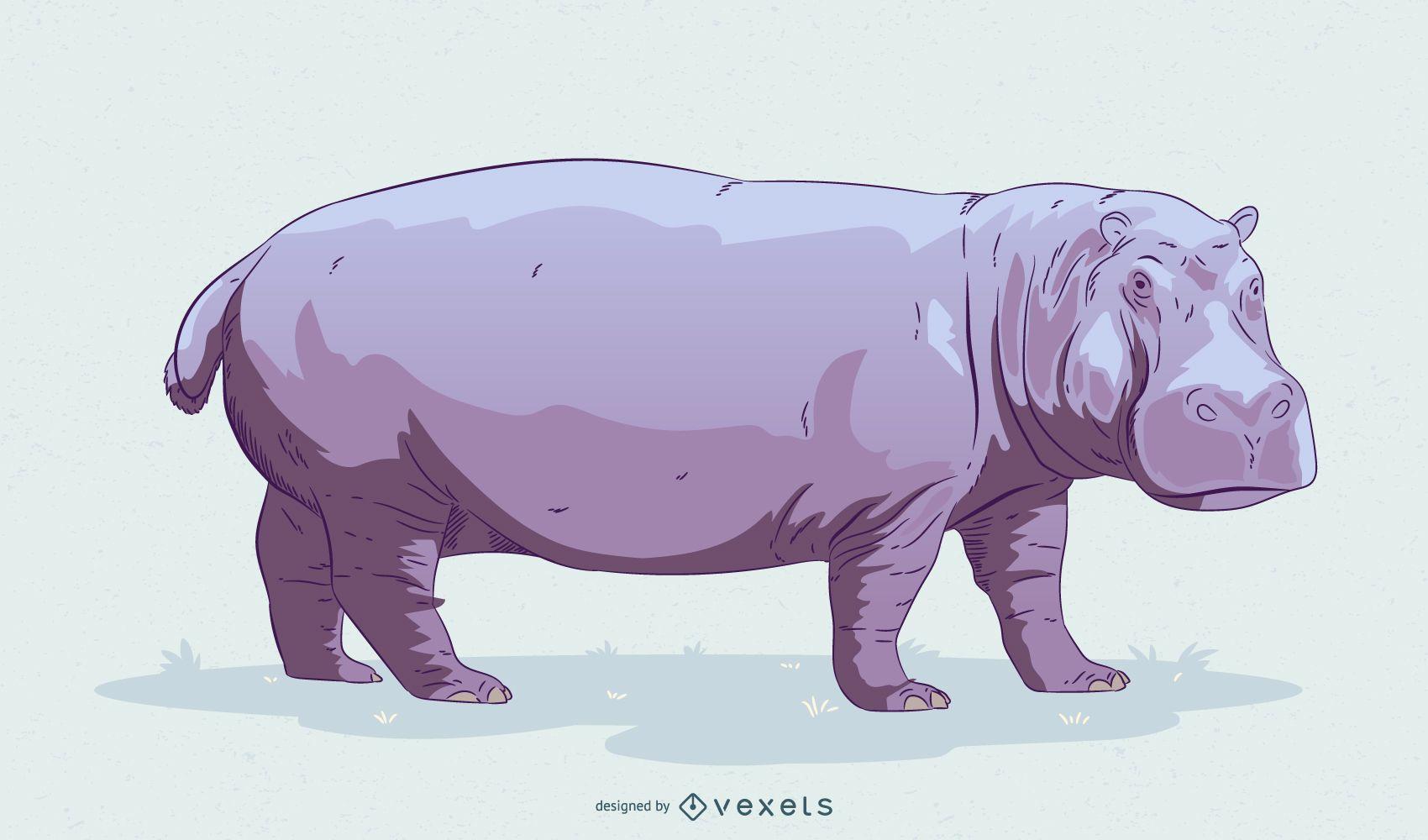 Diseño de ilustración de hipopótamo