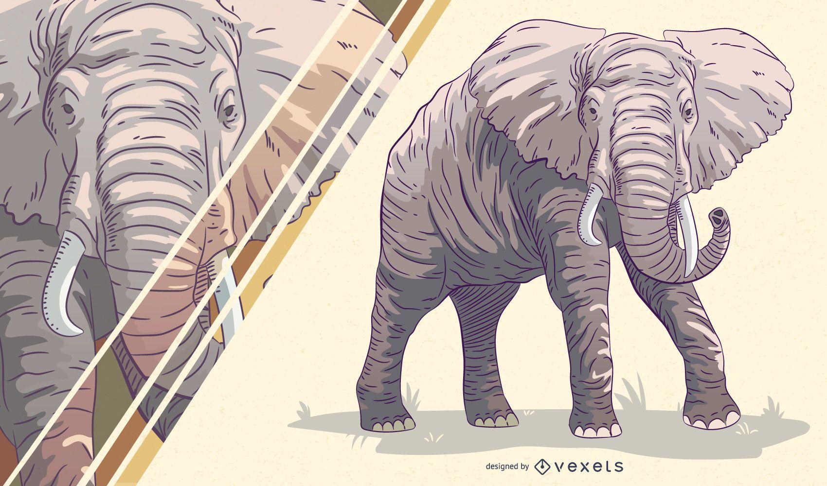 Ilustración artística de elefante
