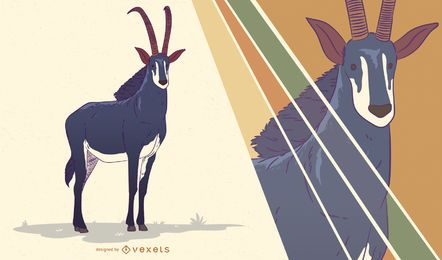 Sable antelope illustration