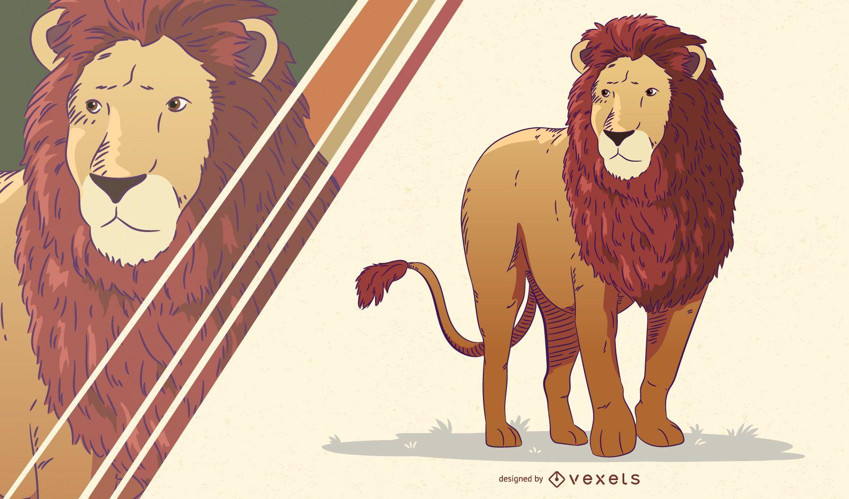 Ilustração artística do leão