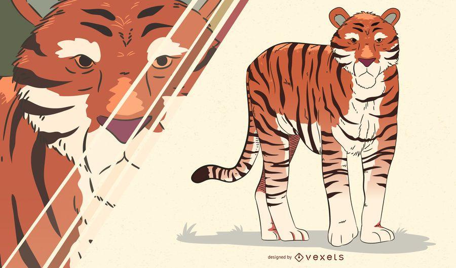 Ilustração artística de tigre