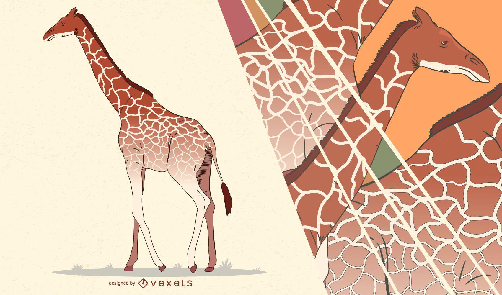 Ilustración artística jirafa