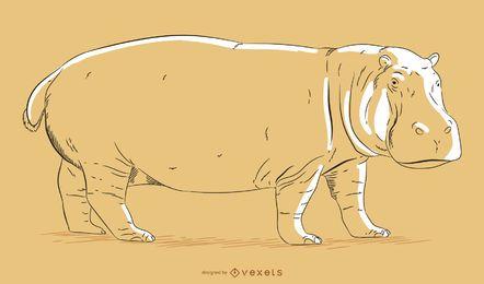 Ilustración dibujada a mano hipopótamo