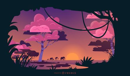 Desenho de ilustração do pôr do sol do Safari