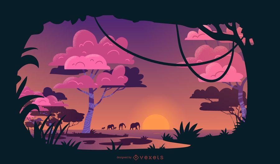 Diseño de ilustración de puesta de sol de Safari