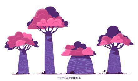 Lila Bäume Vektor festgelegt