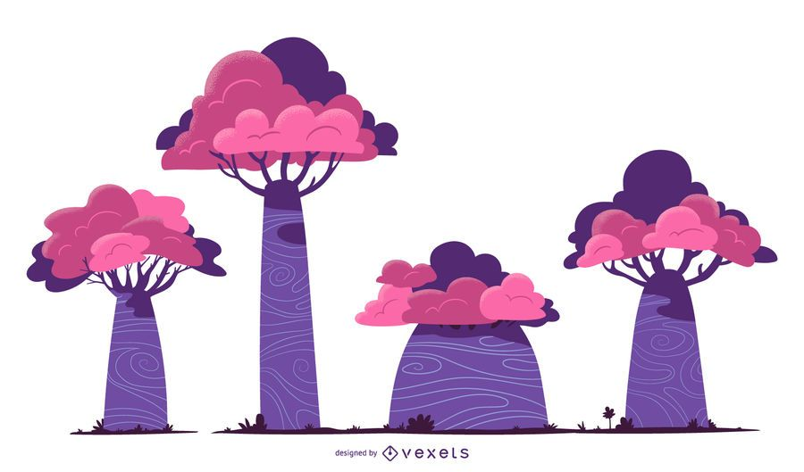 Purple trees vector set