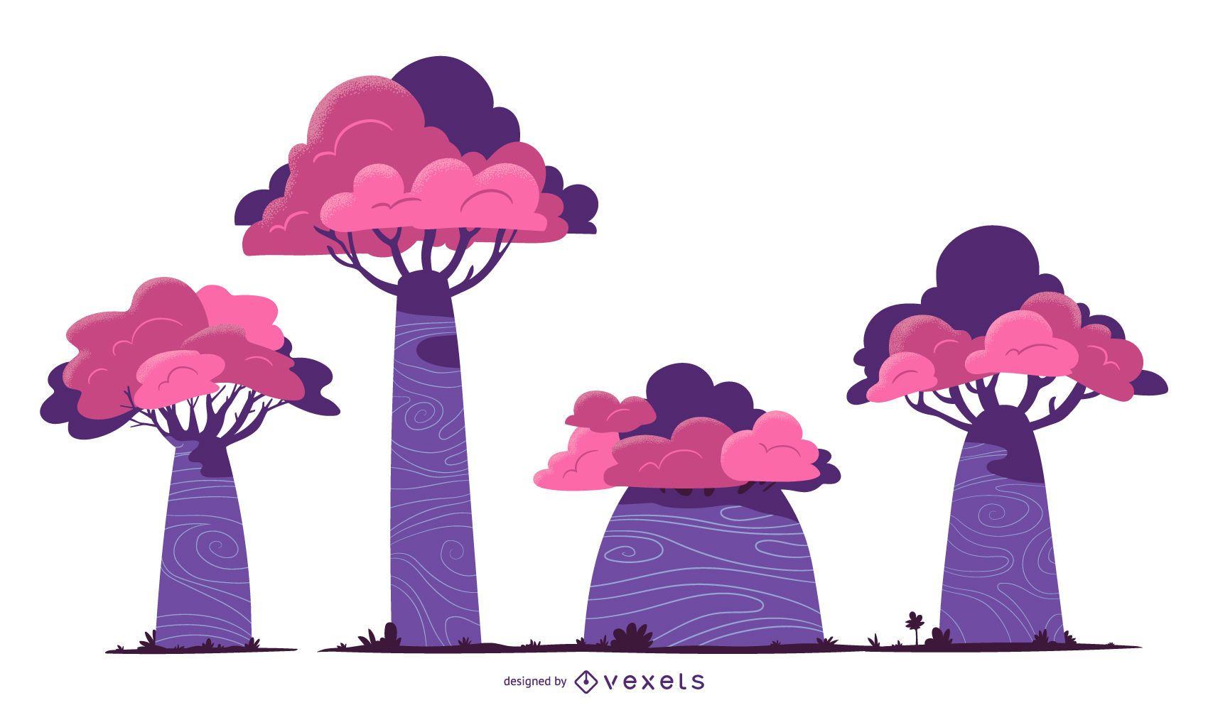 Conjunto de vetores de árvores roxas
