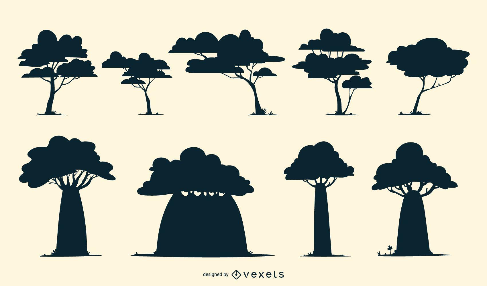 Pacote de silhueta de árvores