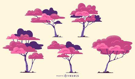 Conjunto de vetores de árvores rosa