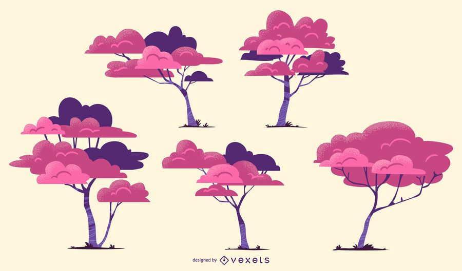 Pink trees vector set