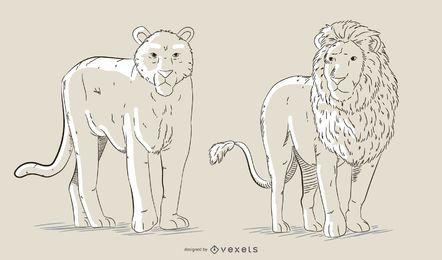 Conjunto de vectores de felinos dibujados a mano