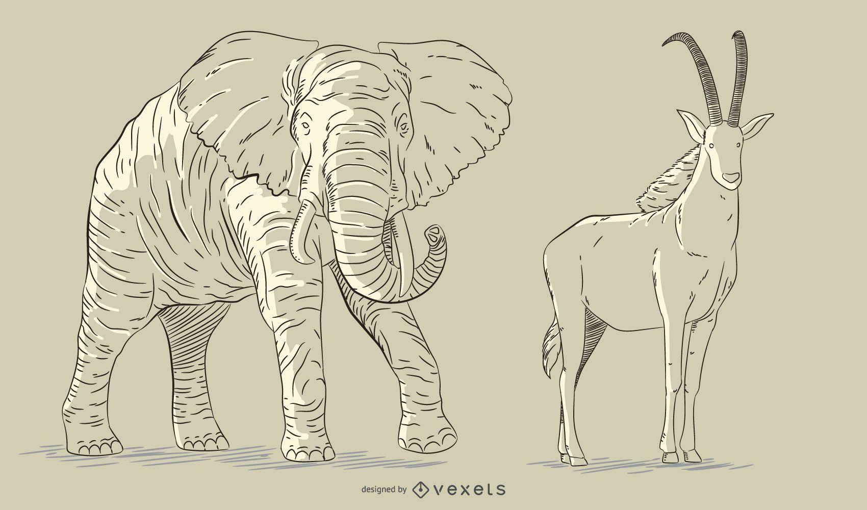 Hand drawn animals set
