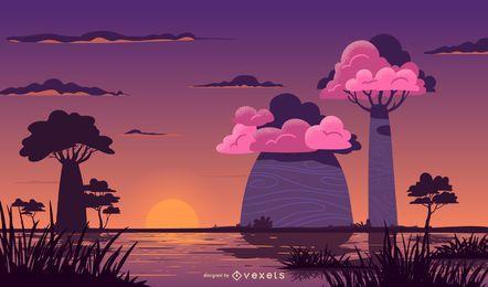 Bunte Sonnenuntergangslandschaft der Safari