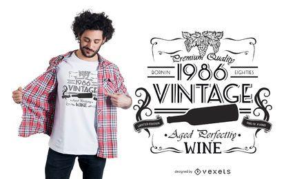 Diseño de camiseta vino vintage