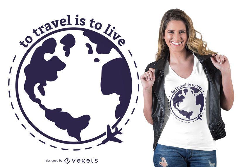Viajar é design de t-shirt de vida
