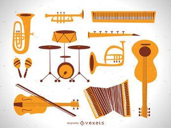 Conjunto de vetores de instrumento de música plana vintage