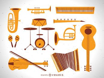 Vintage Flat Music Instrument Vector Set