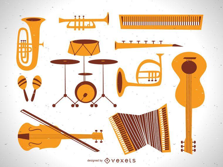 Conjunto de vectores de instrumentos de música plana vintage
