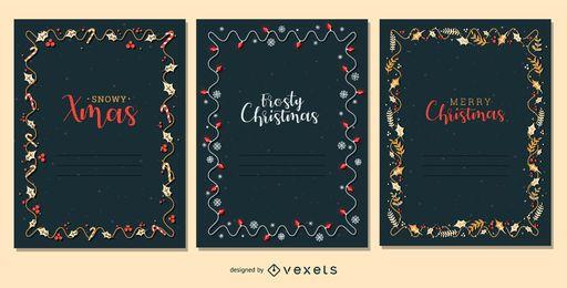 Conjunto de vetores de moldura de cartão de Natal