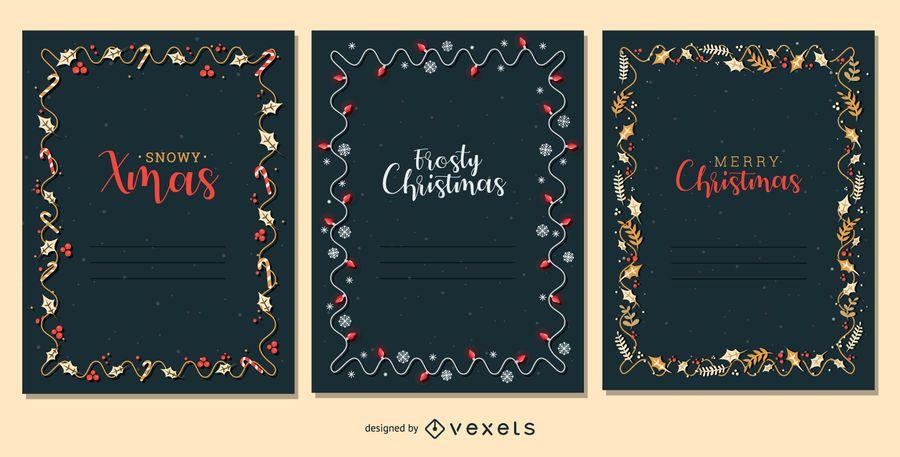 Conjunto de Vector de marco de tarjeta de Navidad