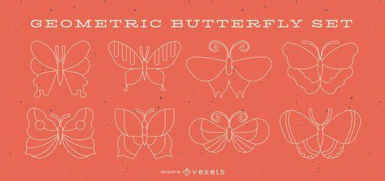 Conjunto de linha geométrica borboleta