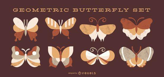 Conjunto de vector de mariposa geométrica
