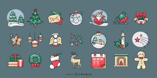 Colección de lindos elementos navideños