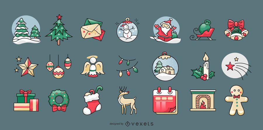 Colección de elementos lindos de Navidad