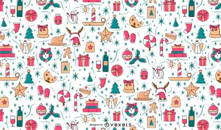 Christmas elements pattern design