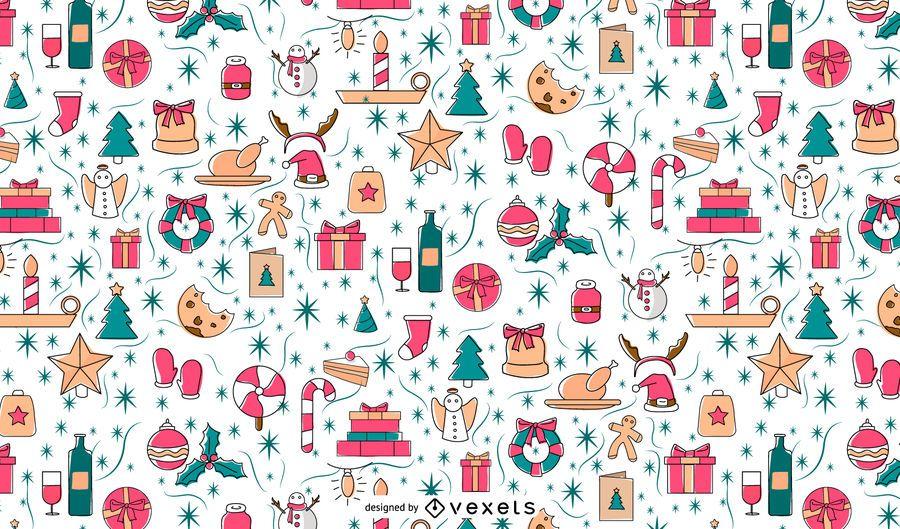 Diseño de patrón de elementos navideños