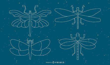 Conjunto de linha geométrica de libélula