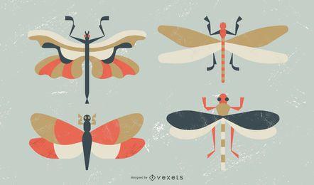 Conjunto de libélula de diseño plano